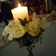プラン内の装花キャンドル