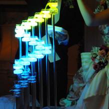 披露宴での発光液演出