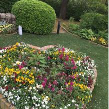 フォトジェニックなハートの花壇