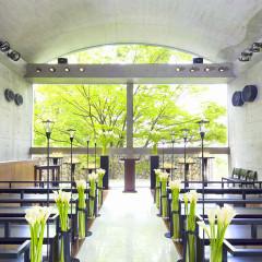 緑輝くシンボルツリーがふたりの挙式を見守ってくれる明るく開放的なチャペル
