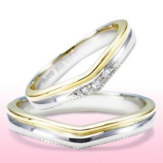 ゴールドとプラチナのコンビが目を引く人気の結婚指輪