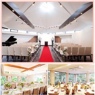 天井高7メートル。自然光の入る明るいチャペル! お食事会場は、どちらを選んでも大きな窓があり、 緑の広がる森の中のレストランのよう・・・