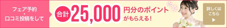 フェア予約と口コミ投稿で、合計25,000円分のポイント(現金交換可)がもらえる!