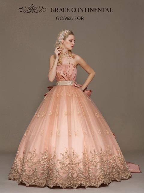 ウェディングドレス ピンクゴールド
