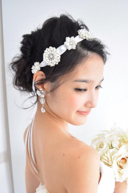 【花嫁髪型】リボンカチューシャでかわいいヘアアレンジ特集 ...