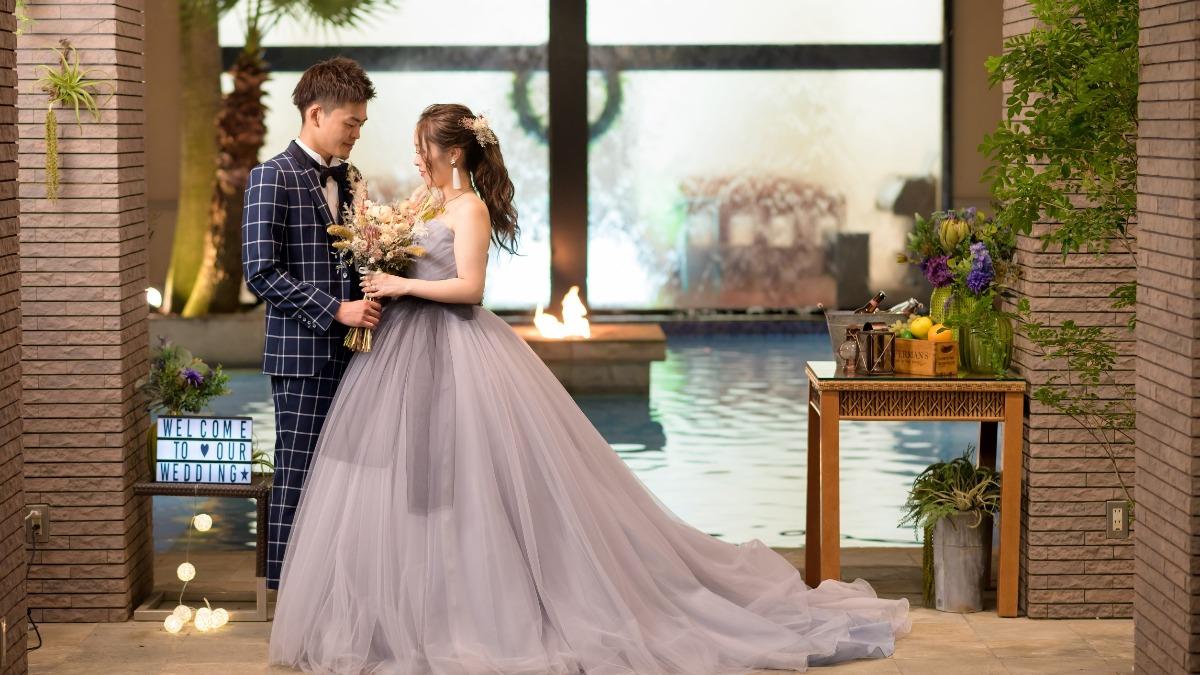 憧れのプール付きの式場で…リゾート感溢れる結婚式*
