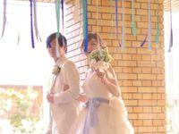 結婚式の会場装飾で大活躍♪会場がパッと華やぐ《リボンガーランド》*