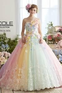レインボーのウェディングドレスを探す