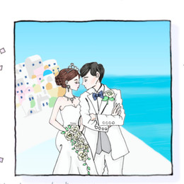 【フォトアイデア】青と白のコントラストが美しい!サントリーニ島でのウェディングフォト♪