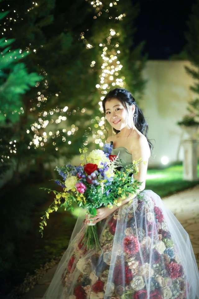 結婚式の手作りカラードレス