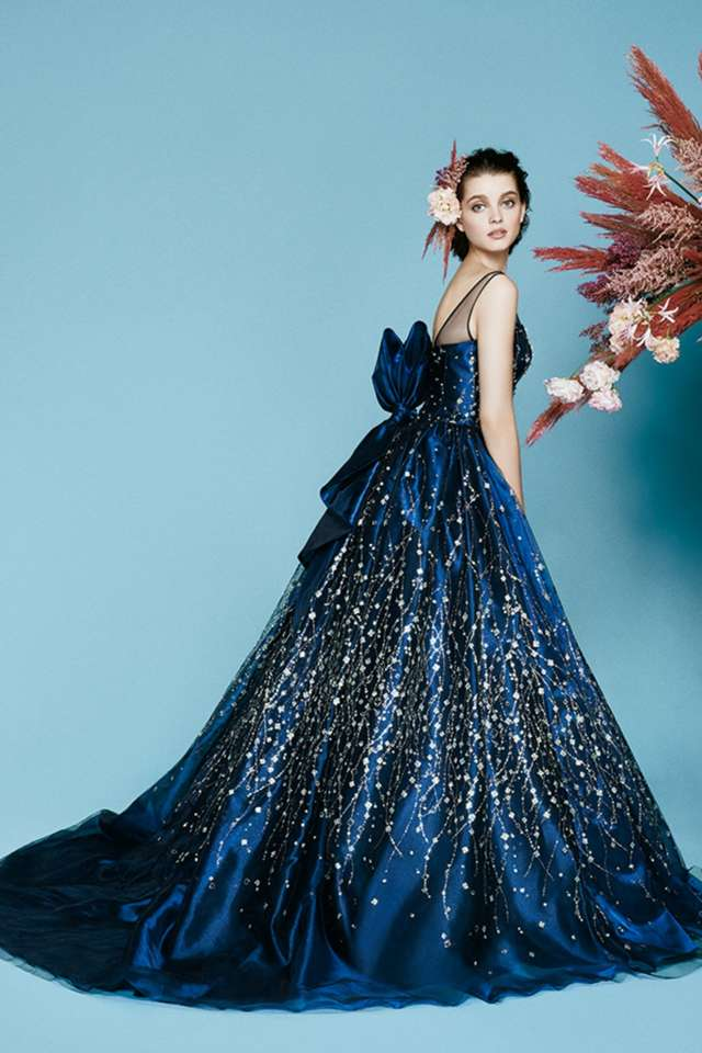 紺色・ネイビーのカラードレス
