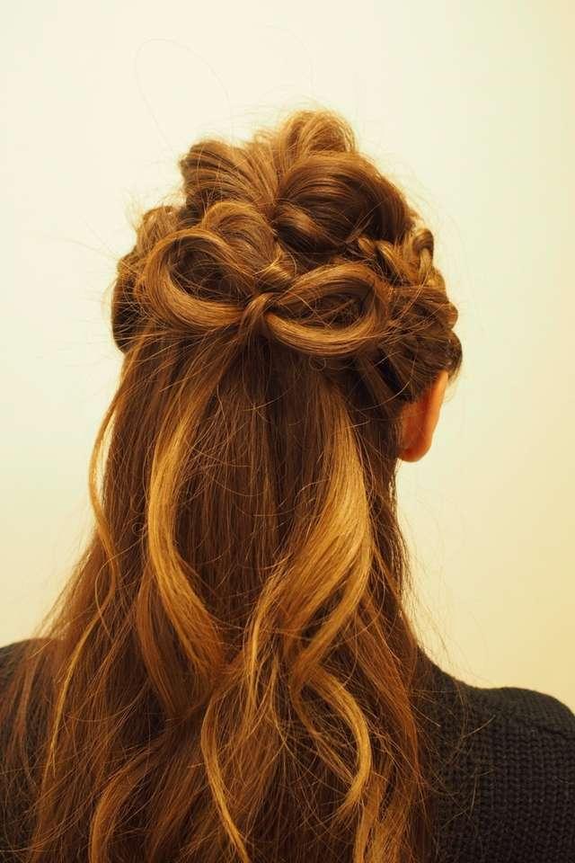 結婚式の髪型・編み込みリボン