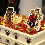 ウェディングケーキは愛猫と楽器。