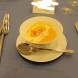 かぼちゃスープにカラフル湯葉♪