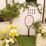 テニス感満載のフォトブース