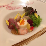 鮪 サザエ 甘エビ 野菜と野菜のムース