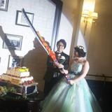 ケーキ入刀はモンハンの武器で