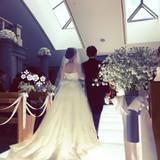 花嫁入場で点灯するバージンロード