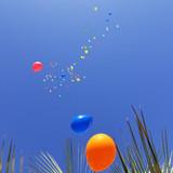 風船が空に上がっていく演出。