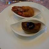フォアグラの柚子味噌風味 カダイフをまと