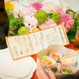 メニュー表と前菜