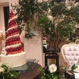 フェアの時の写真でケーキもお花もお洒落