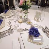 テーブル装花と自作アジサイ