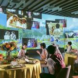 壁一面に広がるラ・ヴェルデュアのマッピング映像