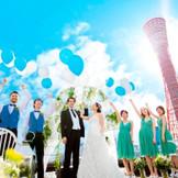 神戸のシンボルポートタワーをバックに青空に映える演出セレモニーが叶う!
