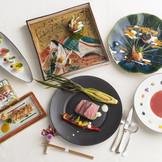 料亭発祥・日本閣のこだわりは味だけにとどまらず器にまで! お料理に合った器を自社窯で手作りしています。