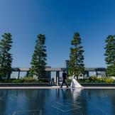 屋上庭園は東京タワーをはじめ、銀座の街が一望できる、前撮りの人気スポット。