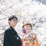 桜満開の日本庭園でのロケフォトは大人気!