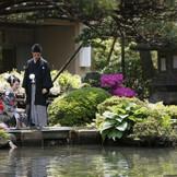 新緑と花々の競演が美しい日本庭園