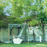 ガーデンのフォトブースではセレモニーの後にゲストと共に穏やかな時間を