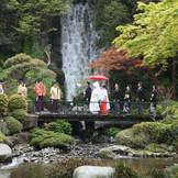四季の彩りが美しい庭園と迫力のある滝。