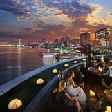 東京湾を一望できるルーフトップテラス併設の披露宴会場『オーシャンビューテラス』