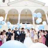 教会式の後は借切空間で行う、セレモニーは、ゲストと一体感あるパーティが叶います。