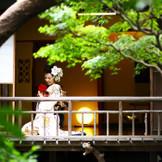庭園を眺めながらの趣きある1枚は和装でも洋装でも風情が感じられる。