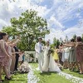 風と緑と光の祝福をふけて誓い合うガーデン挙式