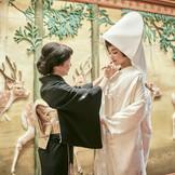 母より娘へ、幸せを願って紅を差す。厳かな婚儀の前の温かな瞬間・・・
