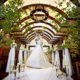 木の温もりと、祭壇奥の滝の水音が心地よいチャペル