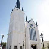 伝統を重んじるゴシック様式で建てられた大聖堂は地上40Mもの高さを持つ壮麗な尖塔と純白の優美なシルエットが特長