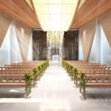 岡山モノリスのチャペルは、光と水と木の大自然を感じることのできる神聖な空間に。(完成イメージ)