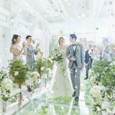 やわらかな緑と目の前に広がる青空が調和した純白に輝く舞台は、花嫁の美しさをさらに惹き立てる