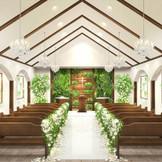 さらに新しくオープンするウッドチャペルは、木のブラウンが落ち着いた雰囲気。緑も配され、森の中の結婚式のよう