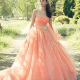 """ブランド""""デラフォーレ""""のドレス。日本人に似合うフェミニンなインポートテイストのドレス。微妙に違う色を何層にも重ねたチュール素材にグリッターをたくさん使用!360度どこから見ても可愛いドレス!"""