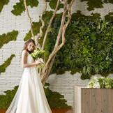 本物の植物の壁画やペンダントライトなどで緑に癒される空間が魅力の会場