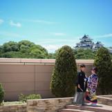 チャペルのガーデンからも和歌山城が見える!