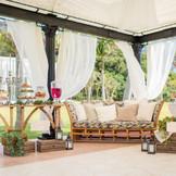 チャペル横に新設されたプルミエ・ガーデンテラスでウェルカムパーティーを!