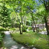 自然あふれるホテル内の中庭で、ゲストも軽井沢気分を満喫
